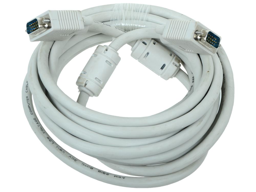 Кабель VGA Premium Gembird, 5.0м, 15M/15M, тройн.экран, феррит.кольца, пакет CC-PPVGA-5M кабель vga premium gembird 1 8м 15m 15m тройн экран феррит кольца пакет cc ppvga 6