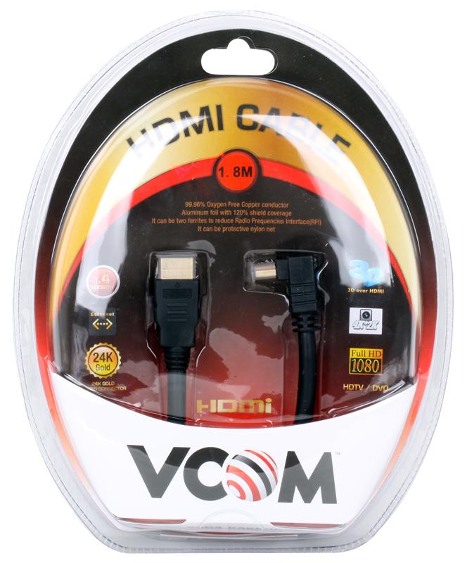Фото - Кабель VCOM HDMI 19M/M-угловой коннектор 1.8м, 1.4V позолоченные контакты (VHD6260D-1.8MB) Blister аксессуар mobiledata hdmi 4k v 2 0 плоский 1 8m hdmi 2 0 fn 1 8