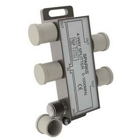Сплиттер (краб, делитель TV) 1)4 Belsis Sparks BL1076 На 4 направления под F разъем 5-1000мгц сетевые фильтры belsis сетевой удлинитель 4 розетки 4 usb порта длина 1 500