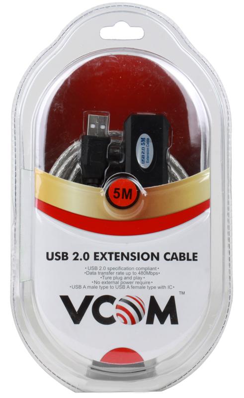 Кабель удлинитель активный(с усилителем) USB 2.0 AM/AF 5м VCOM (VUS7049) repeater цена