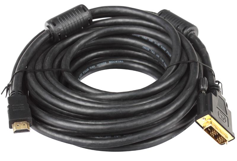Кабель HDMI - DVI-D 19M/19M 10м Telecom 2 фильтра, с позолоченными контактами кабель hdmi dvi d 19m 19m 2м telecom 2 фильтра с позолоченными контактами