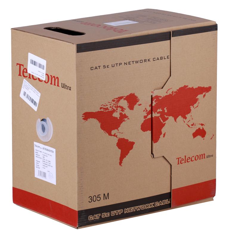 Сетевой кабель бухта 305м UTP 5e Telecom Ultra TUM34702E-BL многожильный, 4 пары, 24AWG/0.51мм, синий