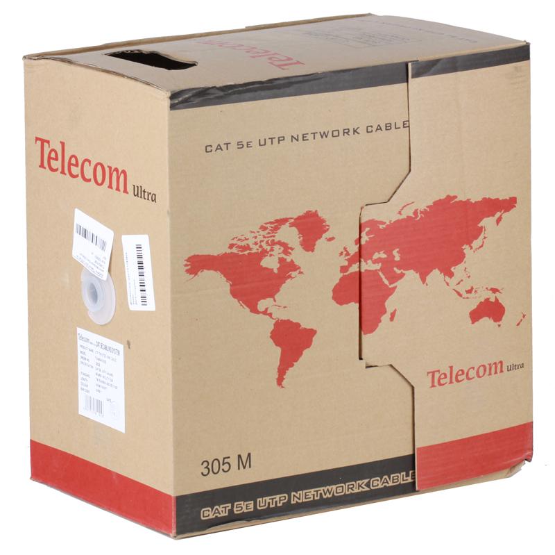 Сетевой кабель бухта 305м UTP 5e Telecom Ultra TUM34702E 4 пары, многожильный, 24AWG/0.51мм