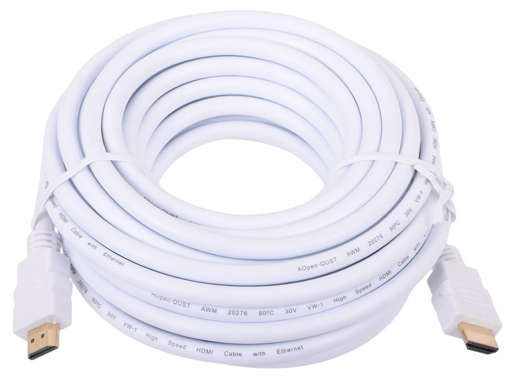 Кабель HDMI 19M/19M 10m ver:1.4 +3D/Ethernet AOpen [ACG511W-10M] белый, позолоченные контакты кабель hdmi 19m 19m 5 0m ver 1 4 3d ethernet aopen [acg511d 5m] 2 фильтра позолоченные контакты