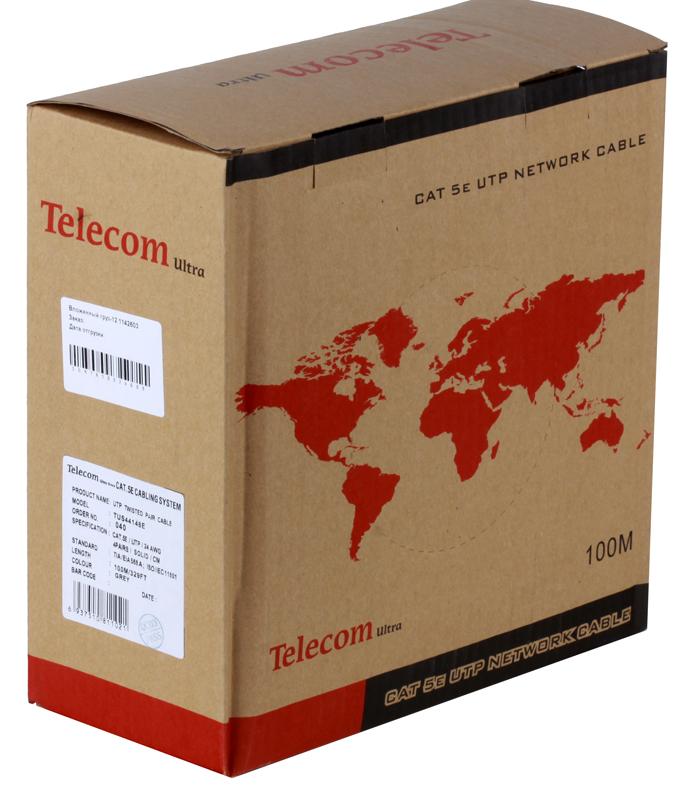 Сетевой кабель бухта 100м UTP 5e Telecom Ultra TUS44148E 4 пары, одножильный, 24AWG/0.51мм сетевой кабель exegate телефонный кабель cca 4 провода бухта 100m white
