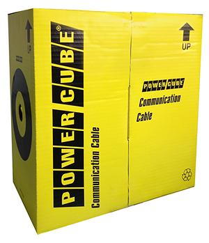 Кабель UTP Power Cube кат5e МЕДЬ одножильный 2х2х0.51 мм, 305 м pullbox, серый (FLUKE TEST) PC-UPC-5002E-SO