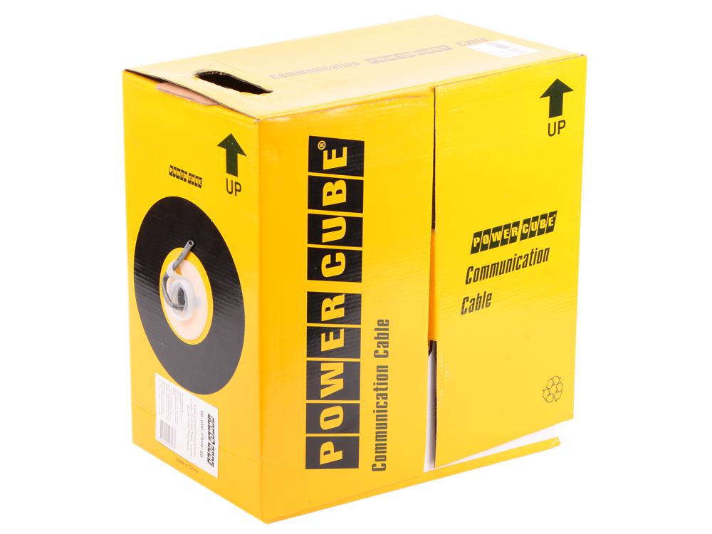 Кабель UTP Power Cube кат.5e МЕДЬ однож. 4х2х0.48 мм, 100 м, серый (FLUKE TEST)  220 PC-UPC-5004E-SO/100 power cube pc y 1 05 7