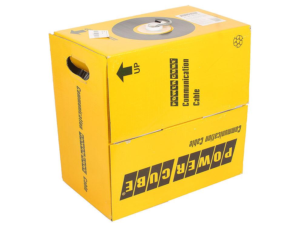 Кабель UTP Power Cube кат.5e МЕДЬ однож. 4х2х0.48 мм, 305 м pullbox, серый (FLUKE TEST) PC-UPC-5004E-SO