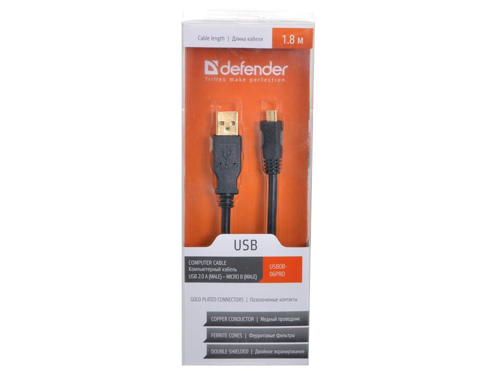 Кабель Defender  USB08-06PRO USB 2.0 AM-MicroBM,1.8м,зол.кон.,2фил акустическая система defender 2 1 sirocco x65 pro 35w 2 15w пульт ду usb sd 65157