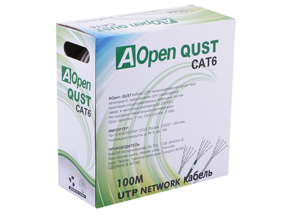 Сетевой кабель бухта 100м UTP 6 Aopen ANC6141 4 пары, одножильный 23AWG/0.57мм кабель utp indoor 4 пары категория 6 aopen anc6141 одножильный 23awg 100м