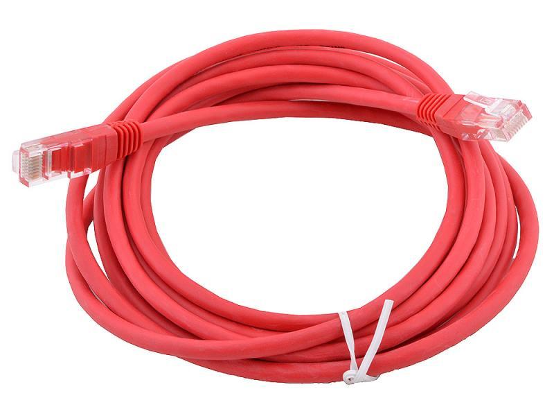 Сетевой кабель 10м UTP 5е, литой patch cord красный Aopen [ANP511_10M_R] цена