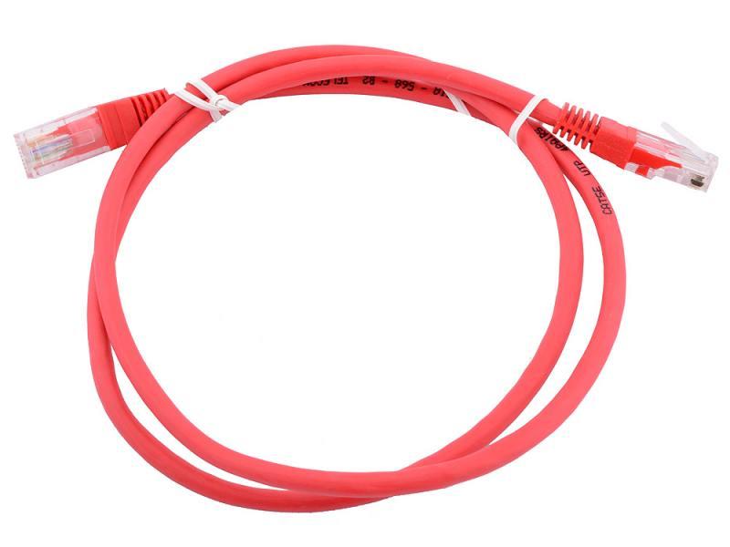 Сетевой кабель 1м UTP 5е, литой patch cord красный Aopen [ANP511_1M_R]