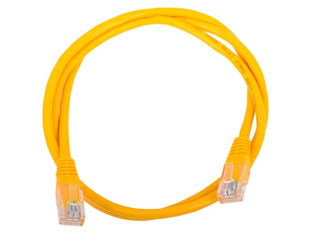 Сетевой кабель 1м UTP 5е, литой patch cord желтый Aopen [ANP511_1M_Y] кабель patch cord utp 5м категории 5е синий nm13001050bl