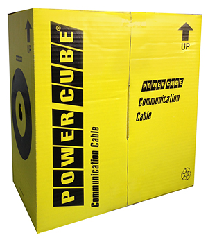 Кабель UTP Outdoor Power Cube кат.5e МЕДЬ однож. 4х2х0.51 мм, 305 м на катушк, внешний с тросом, чер PC-UPC-5051E-SO-OUTR