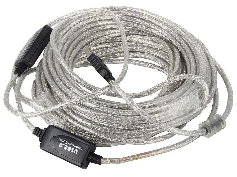 Кабель удлинитель активный(с усилителем) USB 2.0 AM/AF 15м VCOM VUS7049 USB2.0-repeater цена
