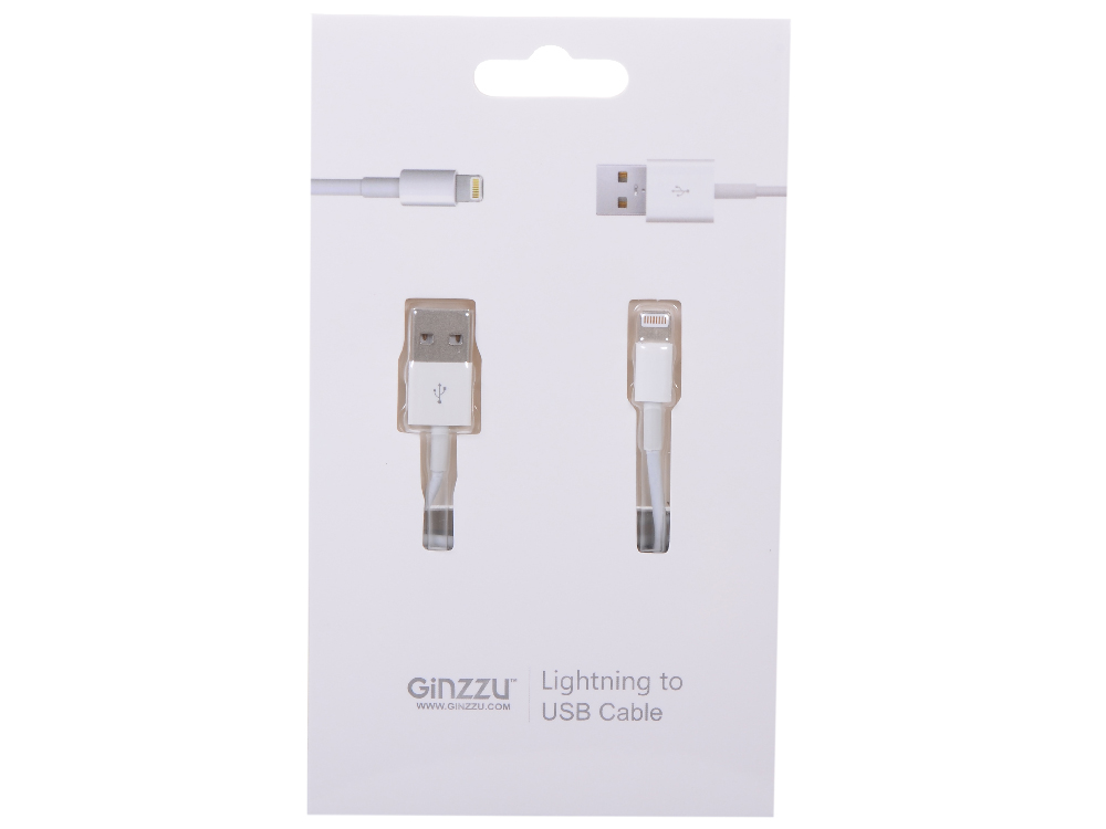 Кабель Lightning GINZZU GC-501W белый, для Iphone /5S / подходит  iOS 7