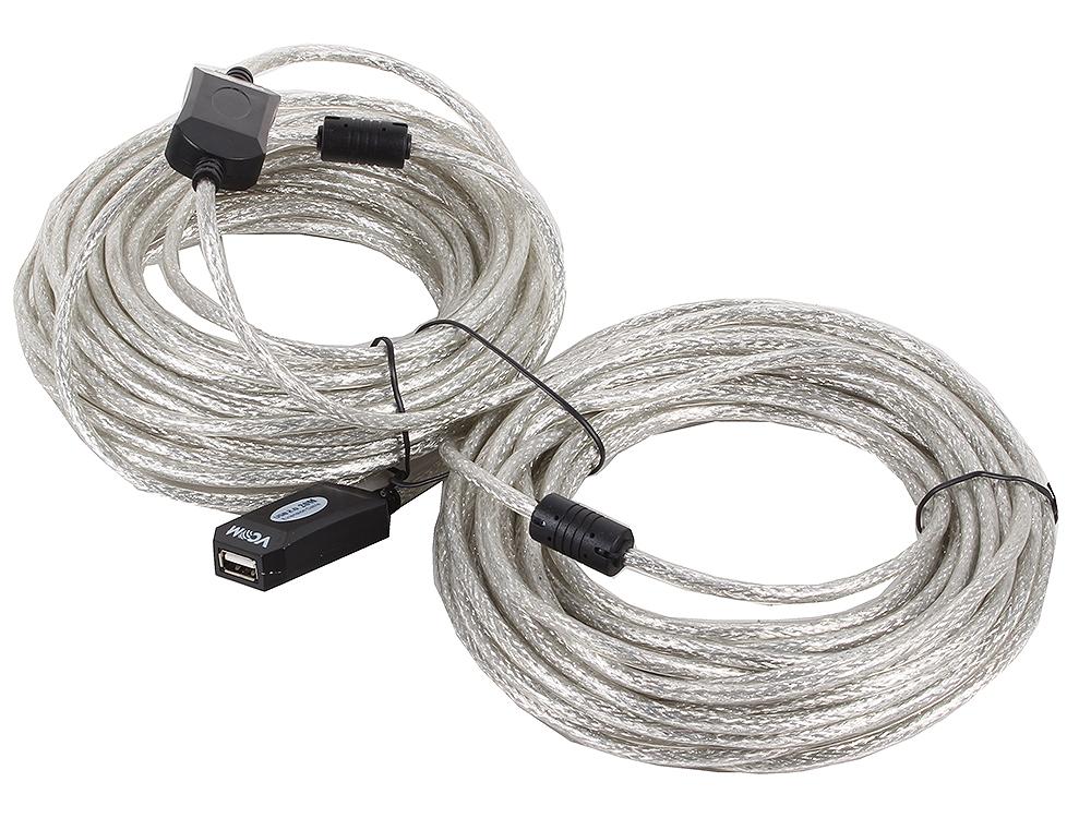 Кабель удлинитель активный(с усилителем) USB2.0-repeater, AM/AF 20м VCOM [VUS7049] цена