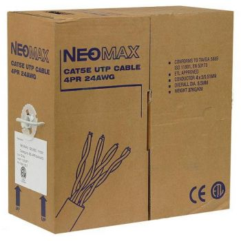Сетевой кабель бухта 305м UTP 5e Neomax NM13001 Медь, 4 пары, многожильный(7х0,2мм), PVC, 24AWG/0.51мм