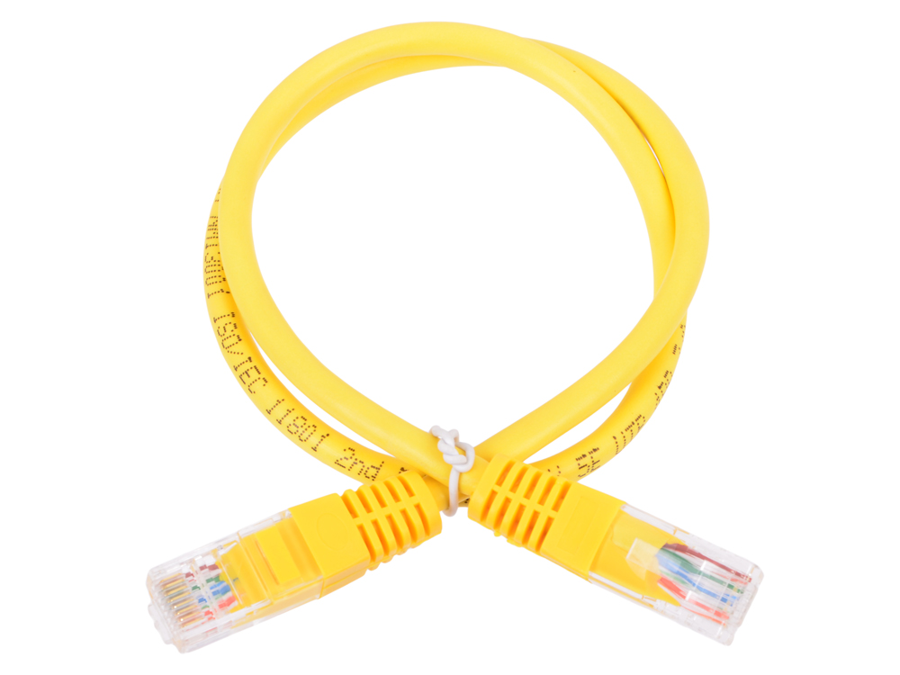 Сетевой кабель 0.5м UTP 5е Neomax NM13001-005Y желтый, медный, многожильный(7х0,2мм) patch cord, PVC, 24AWG