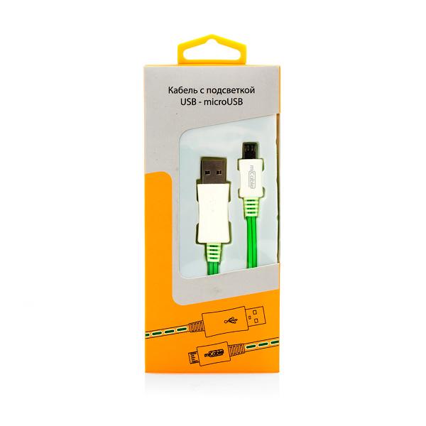 Кабель microUSB 0.9м Gmini mCable MEL801 Green с зеленой подсветкой, AM/microB