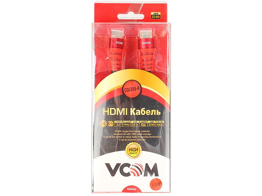 Кабель VCOM HDMI 19M/M ver 2.0 ,1.8m (CG526S-1.8MR) Blister кабель hdmi vcom cg526s 3mr 19m m ver 2 0 3m cg526s 3mr