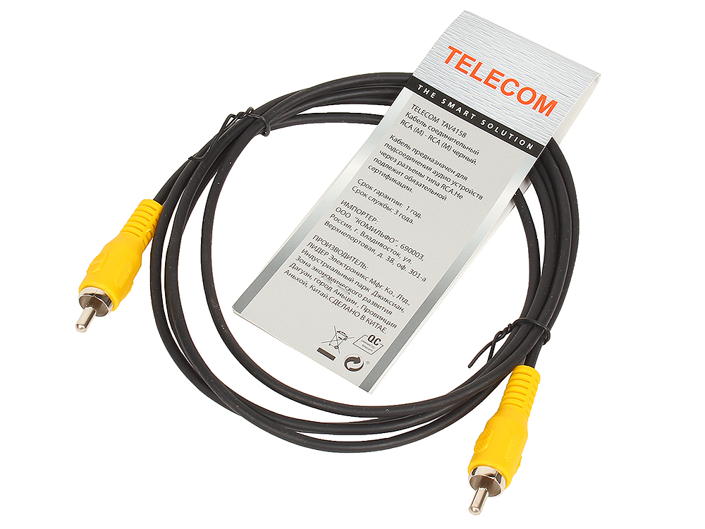 Кабель соединительный RCA (M) - RCA (M) черный 1,5m, Telecom (TAV4158-1.5M) m