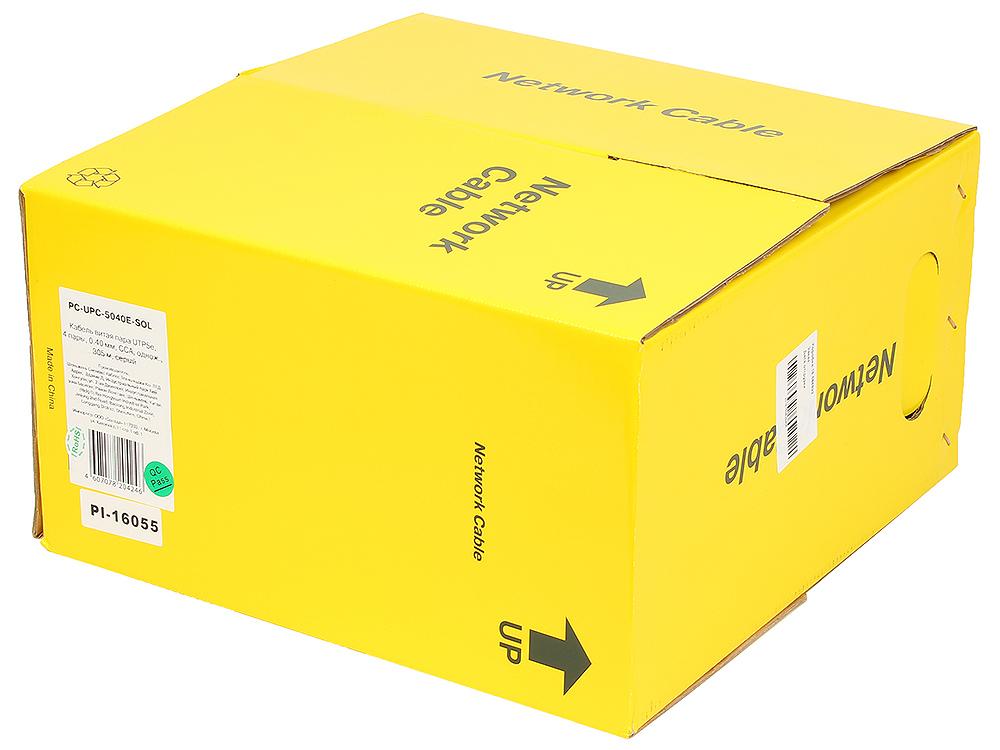 Кабель UTP PC-UPC-5040E-SOL кат.5e CCA однож. 4х2х0.40 мм 305 м pullbox, серый
