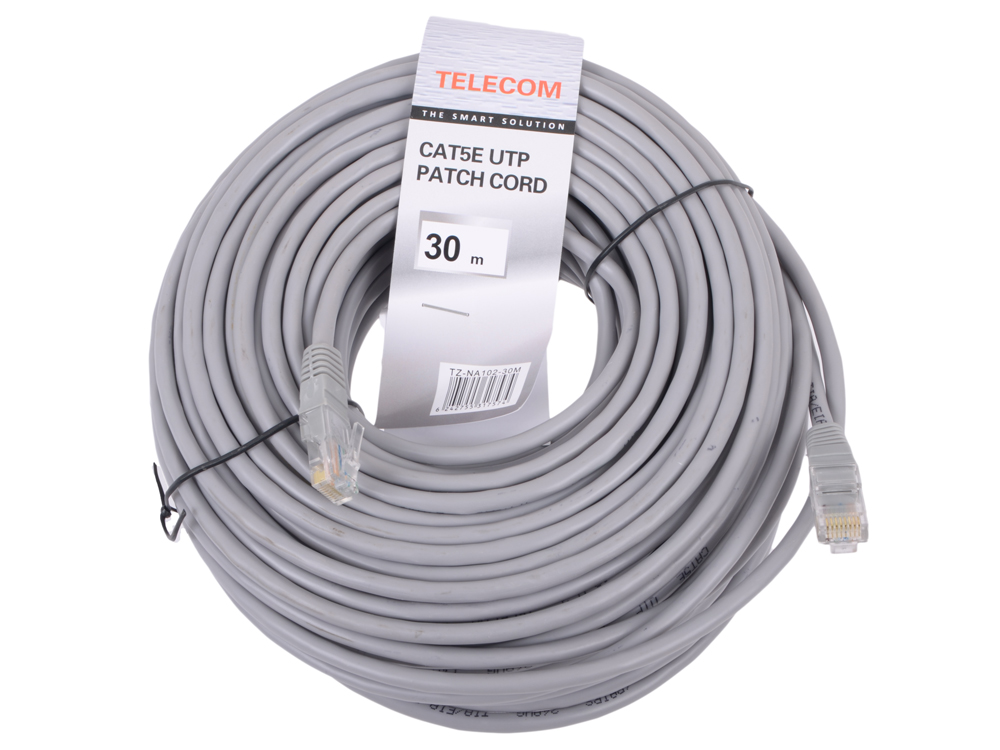 все цены на Патчкорд литой Telecom UTP кат.5е 30,0м серый (NA102--30M)
