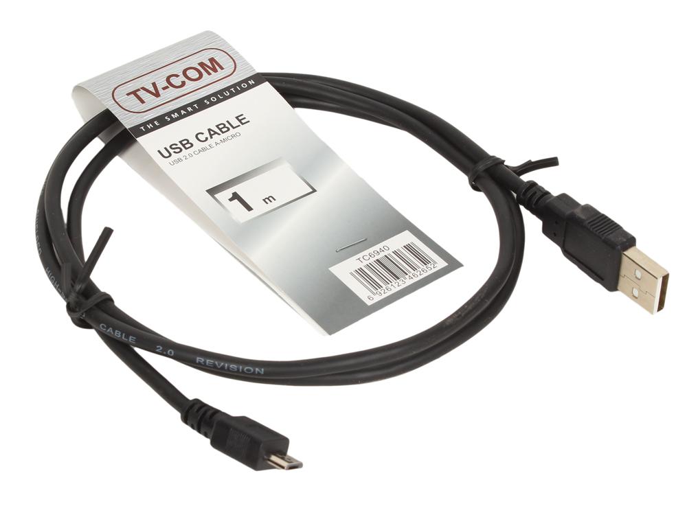 Кабель USB2.0 Am-micro-B 5P (1м) ,TV-COM (TC6940-1M) кабель hama h 173672 00173672 micro usb b m usb a m 0 6м черный