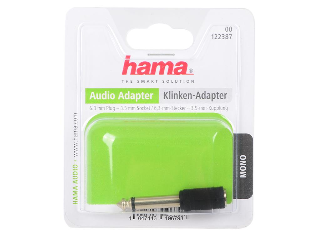 Переходник Hama Jack 6.3(m)-Jack 3.5(f) моно черный 00122387 адаптер hama rca f 6 3 мм jack m моно h 43356