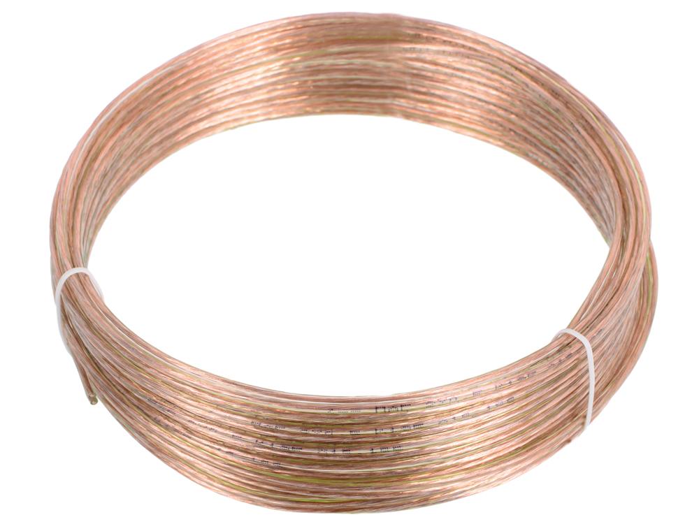 Акустический кабель Cablexpert CC-TC2x0,5-10M, прозрачный, 10 м, бухта кабель акустический в нарезку supra quadrax 4x2 0 mm