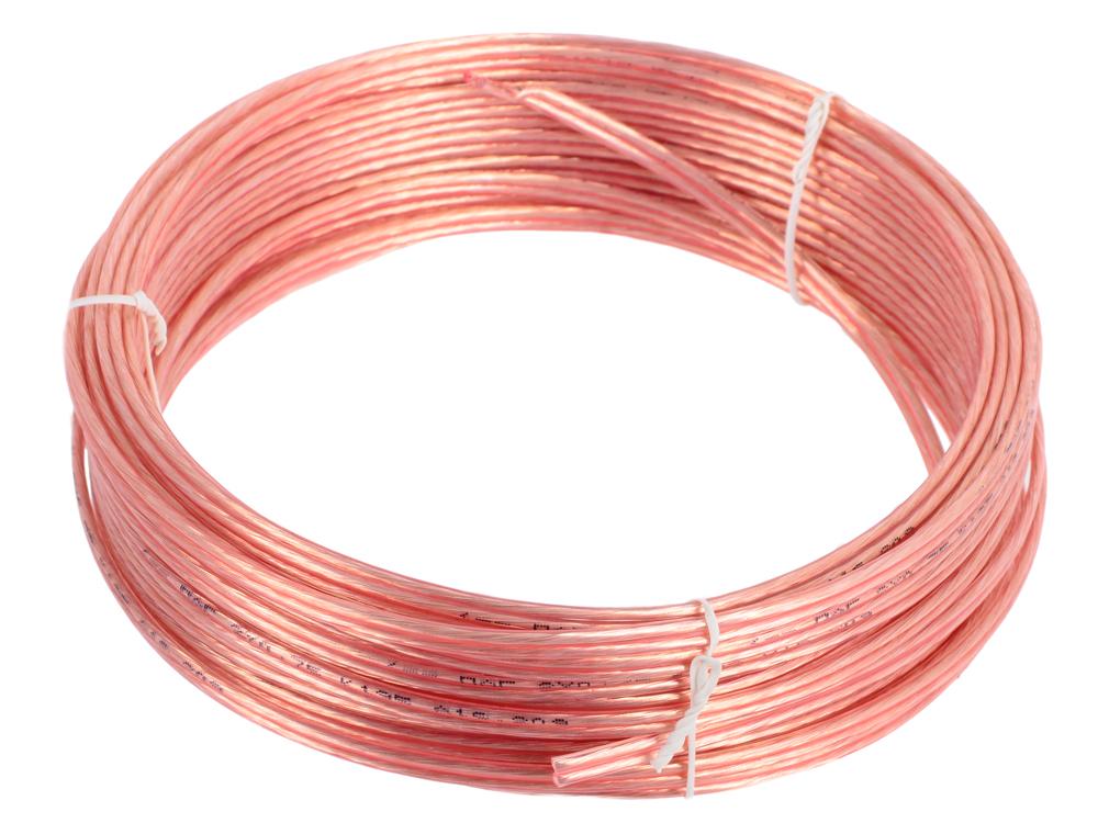 Акустический кабель Cablexpert CC-TC2x0,75-15M, прозрачный, 15 м, бухта кабель акустический в нарезку supra quadrax 4x2 0 mm
