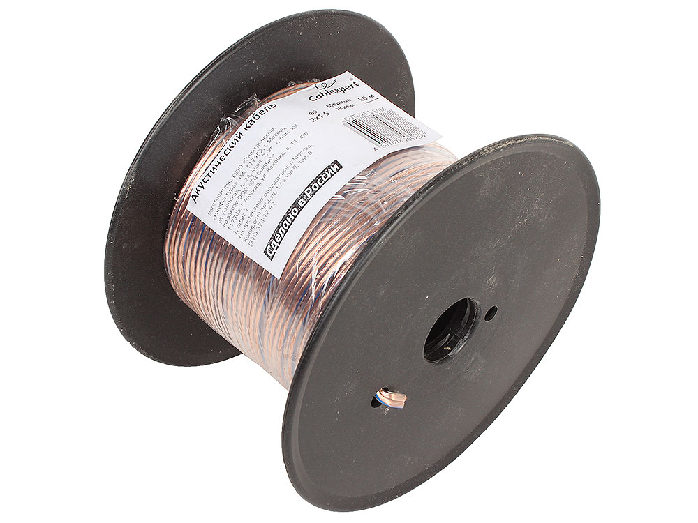Акустический кабель Cablexpert CC-TC2x1,5-50M, прозрачный, 50 м, на катушке кабель акустический в нарезку supra quadrax 4x2 0 mm