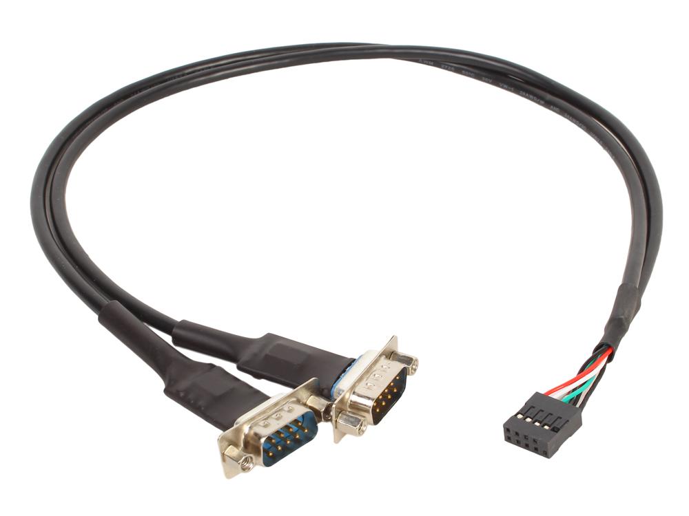 Картинка для Кабель-адаптер ORIENT UMB-2S, кабель-адаптер для подключение к мат.плате, USB (8pin) - 2xRS232 DB9M