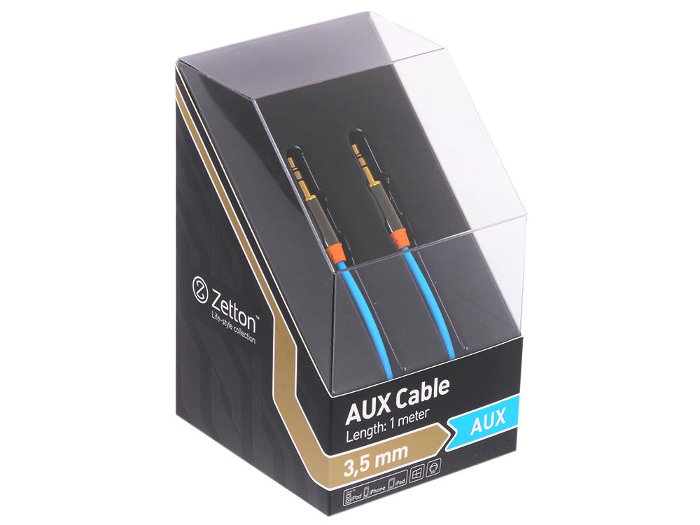 Кабель AUX Zetton Metal 3,5мм jack/jack металлический корпус синий (ZTLSAUX1BB) кабель 3 5 мм jack 2xrca audioquest tower01mr