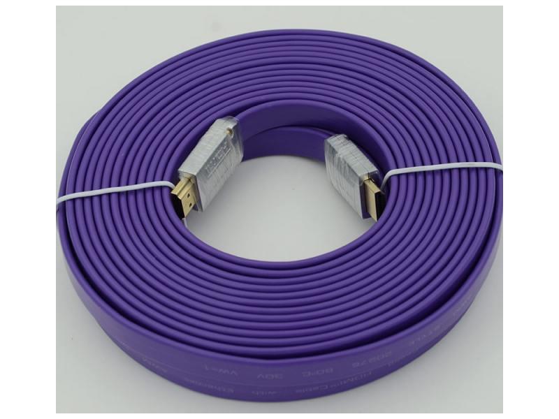 Кабель HDMI 10.0м Ver.1.4 FLAT Purple jack позолоченные контакты плоский переходник aopen hdmi dvi d позолоченные контакты aca311