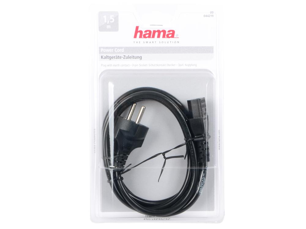Кабель питания для бытовой электроники 1.5м Hama H-44219 с заземлением черный цена и фото