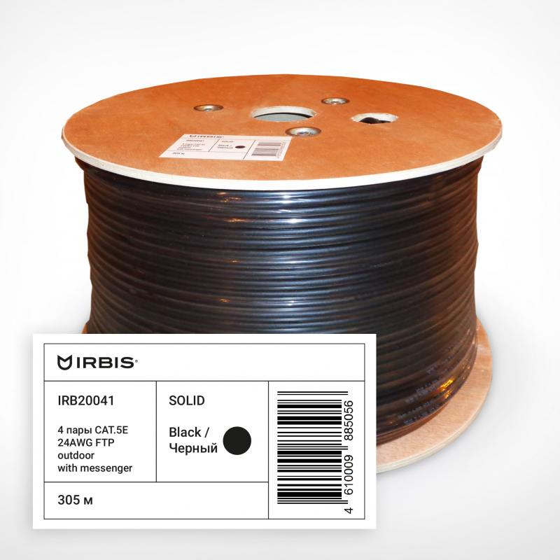 Кабель F/UTP outdoor 4 пары категория 5e Irbis одножильный 4x2xAWG24 100% медь PE T-FG8 черный трос елена бенкен php mysql xml программирование для интернета cd rom