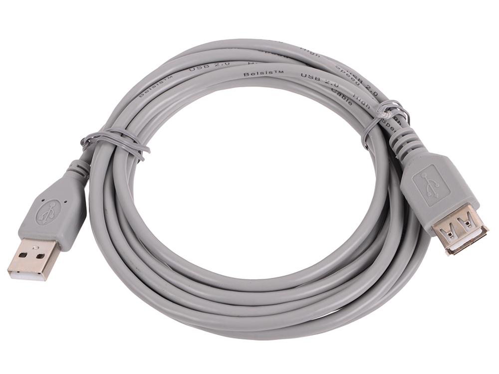 Кабель Belsis BW1409 (USB2.0 А вилка-USB А розетка без ф/фильтра длина 3 м.) сетевые фильтры belsis сетевой удлинитель 4 розетки 4 usb порта длина 1 500