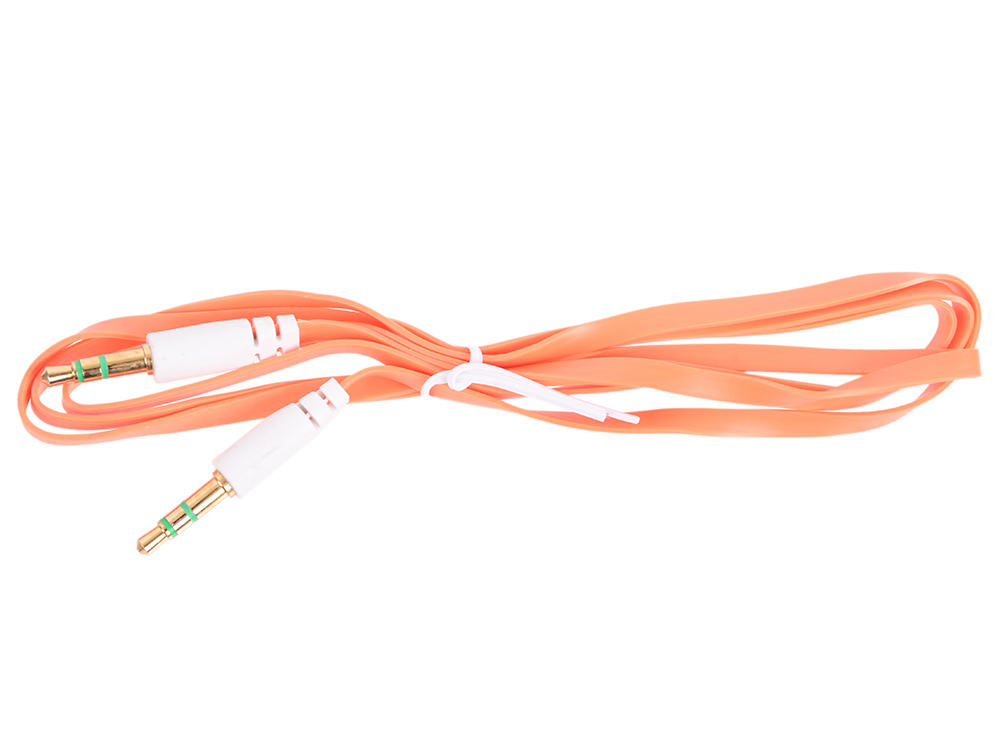 Кабель Belsis BL1101 (Jack 3.5 mm - Jack 3.5 mm,  вилка - вилка, стерео, 0,75 м, оранжевый плоский)