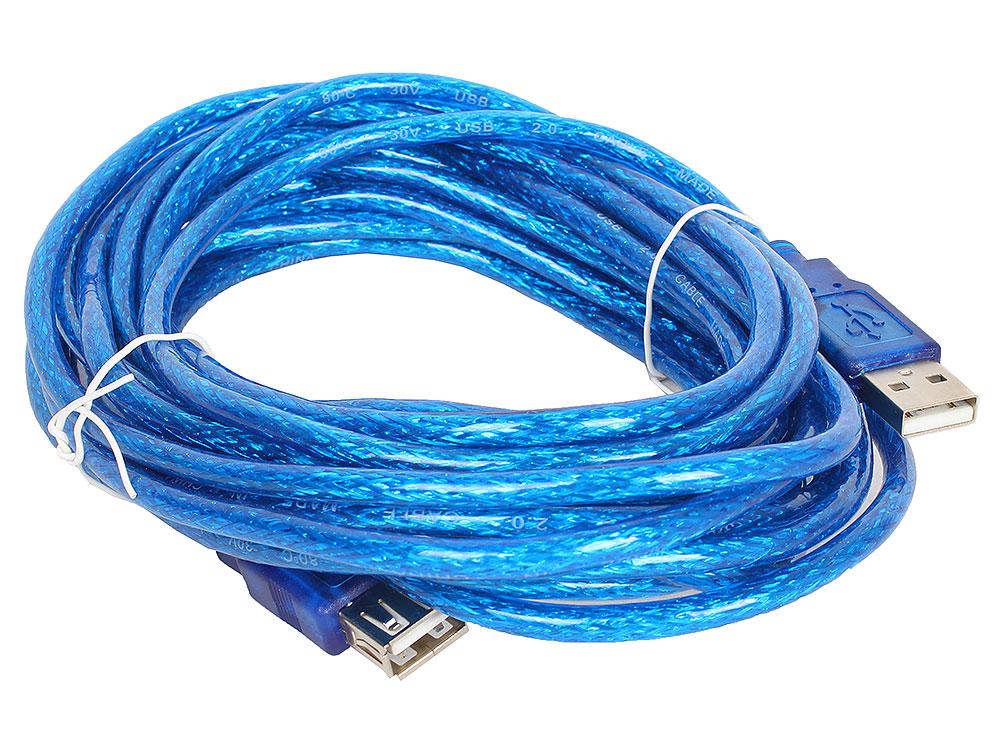Кабель удлинительный Telecom USB2.0 AM/AF прозрачная, голубая изоляция 5.0m (VUS6956T-5MTBO) кабель удлинитель usb 2 0 am af 1 8m telecom прозрачная голубая изоляция vu6956