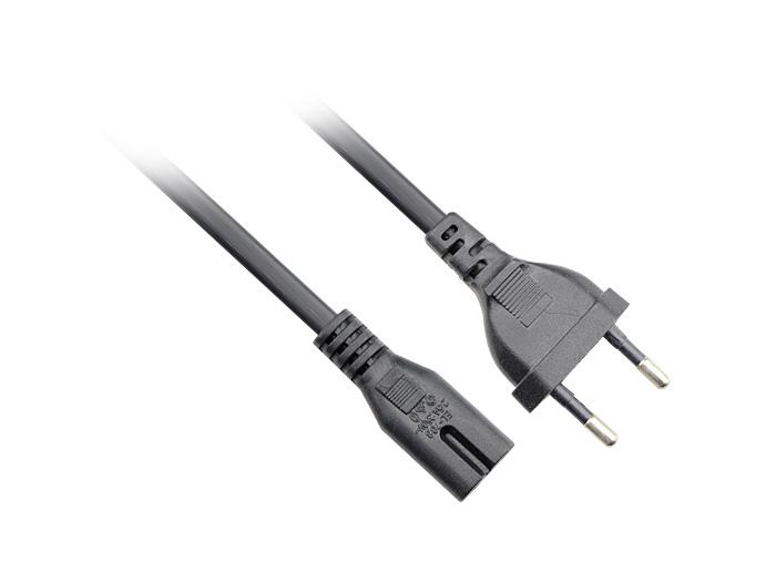 Кабель IEC-320-C7--розетка 220V, 2-pin, 0.5м , черный, Telecom (TP228-IEC320-C7--CEE7/16-0.5-B)