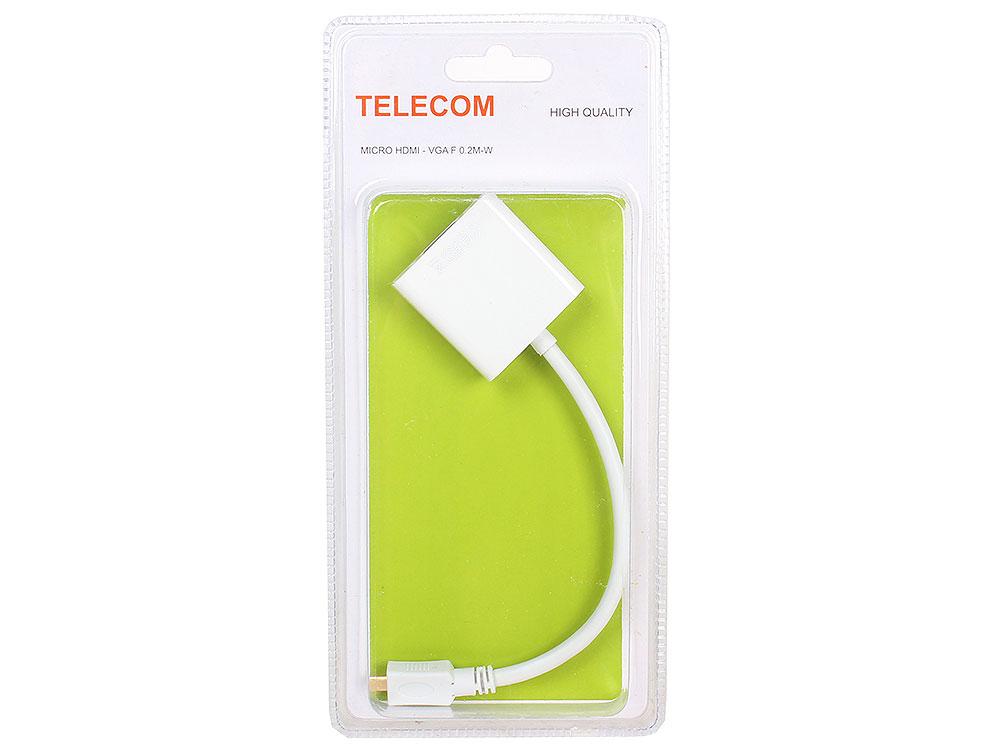 Кабель-переходник Micro HDMI M=)VGA F 0.2m, белый, Telecom (TA593) переходник vga аудио hdmi telecom ttc4025