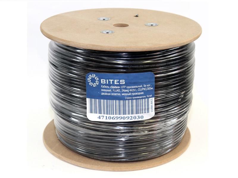Кабель UTP outdoor 4 пары категория 5e (0,50 mm),CU, 5bites US5505-305CE одножильный (solid) PE PVC 305м сетевой кабель 5bites ftp solid 5e 24awg copper pe outdoor messenger drum 305m black fs5505 305ce m