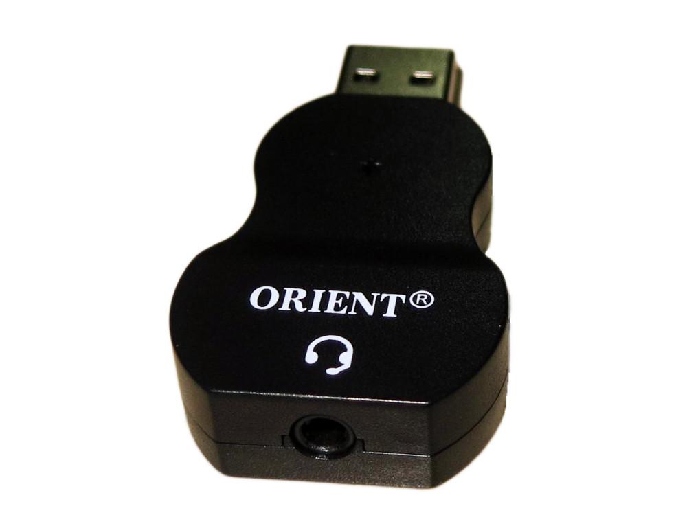 Адаптер ORIENT AU-03, USB to Audio, jack 3.5 mm (4-pole) для подключения телефонной гарнитуры к порту USB, черный звуковая карта orient au 01n 3 5mm jack to usb