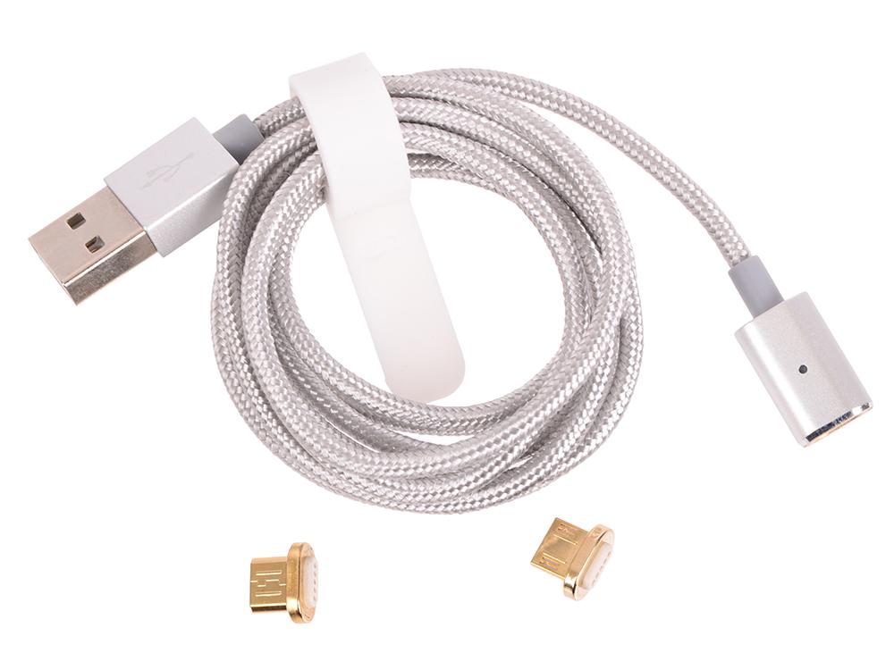 Кабель micro USB-USB (нейлоновый, с магнитным разъемом+2 адаптера, 120см) DF aMagnetCable-02 (silver)