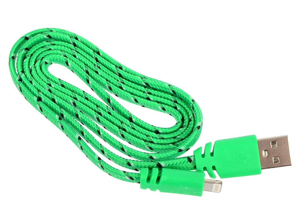 USB кабель LP для Apple 8 pin плоская оплетка (зеленый/европакет) 0L-00030341 usb кабель lp micro usb плоский узкий зеленый европакет sm000118