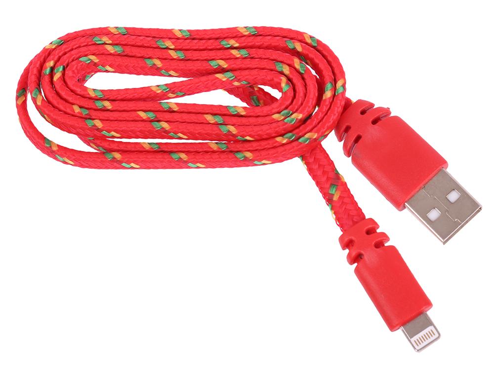 USB кабель LP для Apple 8 pin плоская оплетка (красный/европакет) 0L-00030334 usb кабель lp micro usb круглый soft touch металлические разъемы розовый европакет 0l 00030358