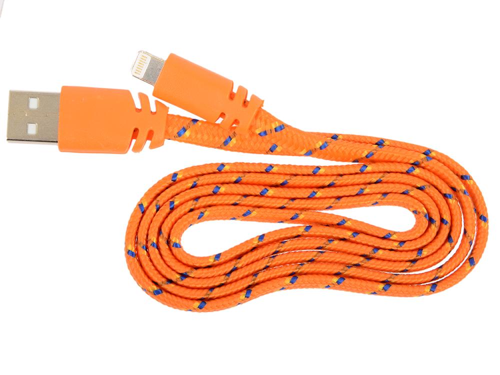 USB кабель LP для Apple 8 pin плоская оплетка (оранжевый/европакет) 0L-00030335 usb кабель lp micro usb круглый soft touch металлические разъемы розовый европакет 0l 00030358