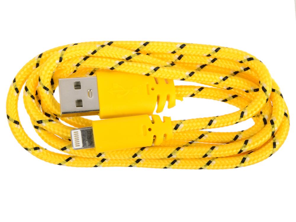 USB кабель LP для Apple iPhone/iPad 8 pin в оплетке (желтый/черный/европакет) SM001592 usb кабель lp для apple 8 pin плоская оплетка оранжевый европакет 0l 00030335